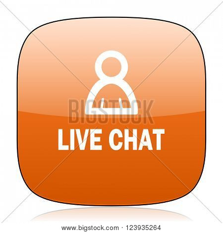 live chat orange square glossy web icon