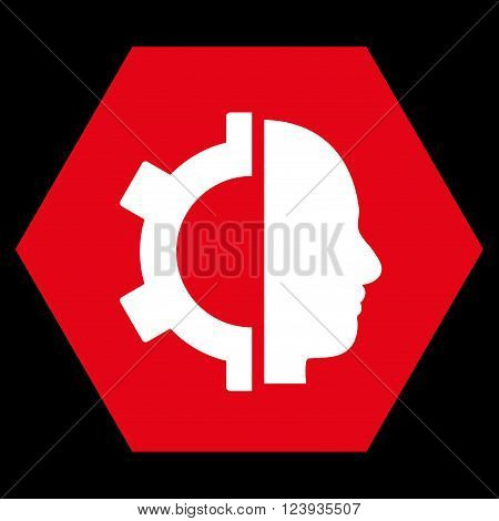 Cyborg Gear vector pictogram. Image style is bicolor flat cyborg gear pictogram symbol drawn on a hexagon with red and white colors.