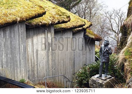 Bergen, Norway - May 06, 2013: statue of Edvard Grieg