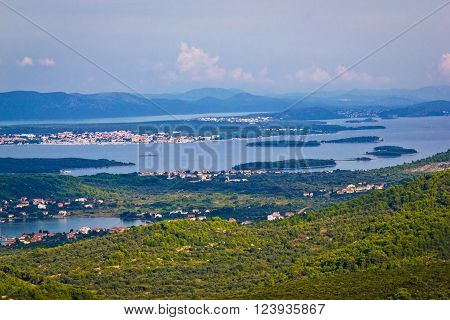 Croatian islands archipelago aerial view bay of Pasman island