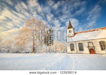 Lutheran church in Latvia on a beautiful winter day