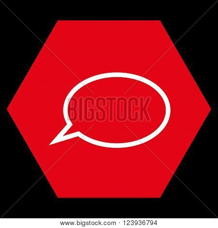 Hint Cloud vector symbol. Image style is bicolor flat hint cloud iconic symbol drawn on a hexagon with red and white colors.
