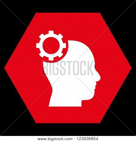 Intellect Gear vector pictogram. Image style is bicolor flat intellect gear icon symbol drawn on a hexagon with red and white colors.