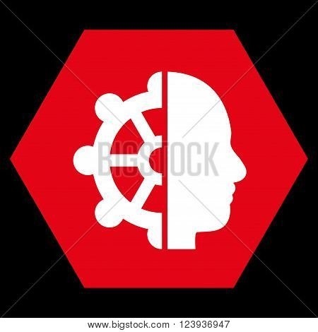 Intellect vector icon symbol. Image style is bicolor flat intellect pictogram symbol drawn on a hexagon with red and white colors.