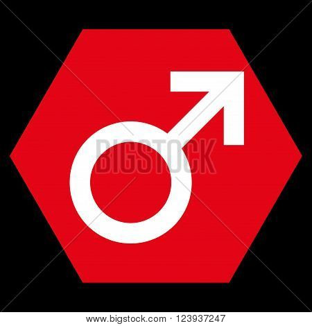 Male Symbol vector symbol. Image style is bicolor flat male symbol iconic symbol drawn on a hexagon with red and white colors.