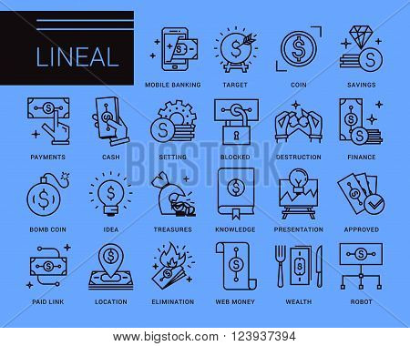 Line vector icons in a modern style. Business and finance, mobile payments, e-currency, speculation, mobile banking.