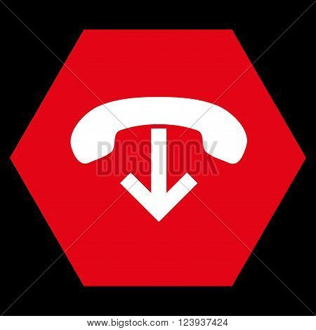 Phone Hang Up vector symbol. Image style is bicolor flat phone hang up iconic symbol drawn on a hexagon with red and white colors.