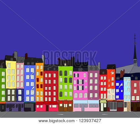 Bright colorful city houses of Honfleur at night. Hand-drawn sketch. Flat design.