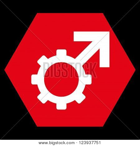 Technological Potence vector symbol. Image style is bicolor flat technological potence iconic symbol drawn on a hexagon with red and white colors.