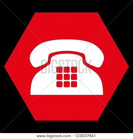 Tone Phone vector icon symbol. Image style is bicolor flat tone phone icon symbol drawn on a hexagon with red and white colors.