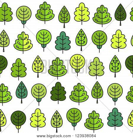 Seamless Pattern With Outline Stroke Icons With Green Tress.