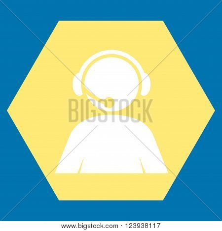 Call Center Operator vector icon. Image style is bicolor flat call center operator iconic symbol drawn on a hexagon with yellow and white colors.
