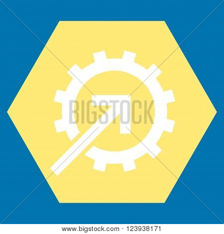 Cog Integration vector icon. Image style is bicolor flat cog integration iconic symbol drawn on a hexagon with yellow and white colors.