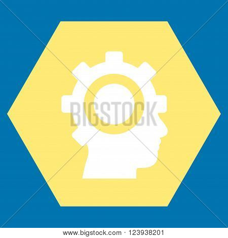 Cyborg Gear vector symbol. Image style is bicolor flat cyborg gear iconic symbol drawn on a hexagon with yellow and white colors.