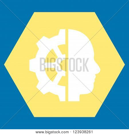 Cyborg Gear vector pictogram. Image style is bicolor flat cyborg gear icon symbol drawn on a hexagon with yellow and white colors.