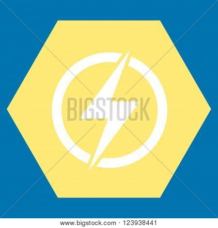 Electricity vector icon. Image style is bicolor flat electricity iconic symbol drawn on a hexagon with yellow and white colors.