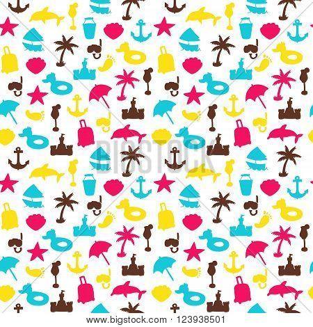 Vector Beach Pattern For Summer.