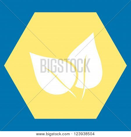 Flora Plant vector symbol. Image style is bicolor flat flora plant icon symbol drawn on a hexagon with yellow and white colors.