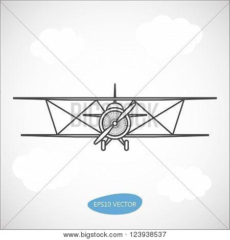 Biplane. Retro airplane illustration. Vintage plane front view. Isolated vector illustration.