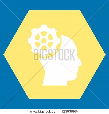 Head Gear vector pictogram. Image style is bicolor flat head gear pictogram symbol drawn on a hexagon with yellow and white colors.
