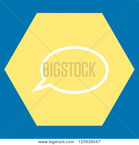 Hint Cloud vector symbol. Image style is bicolor flat hint cloud iconic symbol drawn on a hexagon with yellow and white colors.