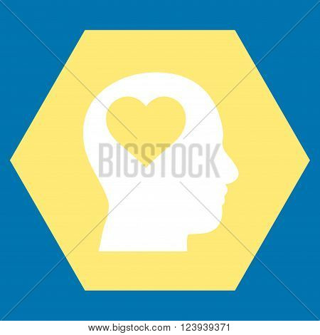 Lover Head vector symbol. Image style is bicolor flat lover head pictogram symbol drawn on a hexagon with yellow and white colors.