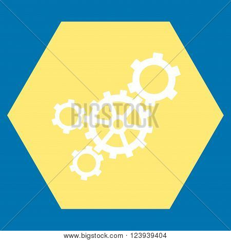 Mechanism vector symbol. Image style is bicolor flat mechanism icon symbol drawn on a hexagon with yellow and white colors.