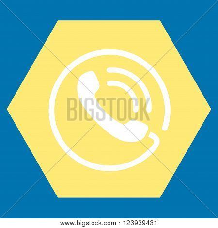 Phone Call vector symbol. Image style is bicolor flat phone call iconic symbol drawn on a hexagon with yellow and white colors.