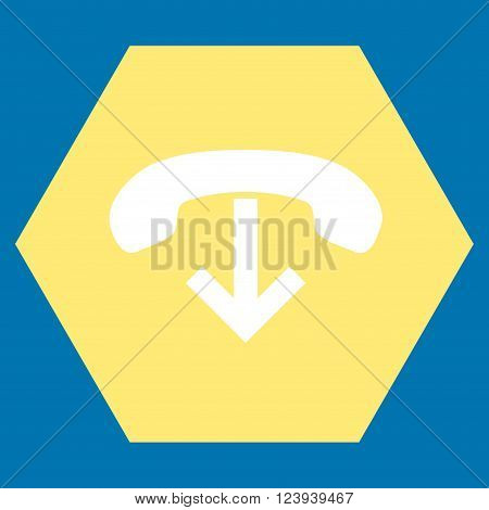 Phone Hang Up vector symbol. Image style is bicolor flat phone hang up iconic symbol drawn on a hexagon with yellow and white colors.