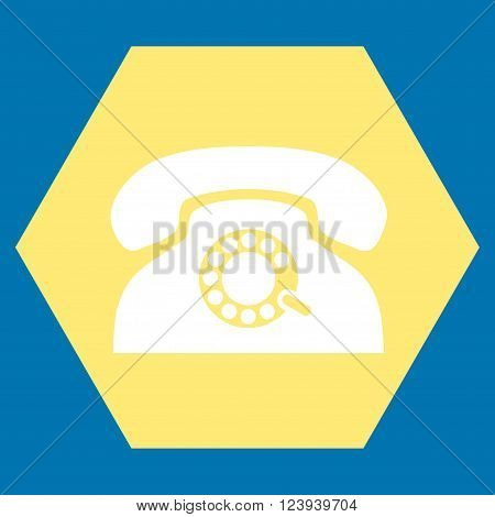 Pulse Phone vector icon. Image style is bicolor flat pulse phone pictogram symbol drawn on a hexagon with yellow and white colors.