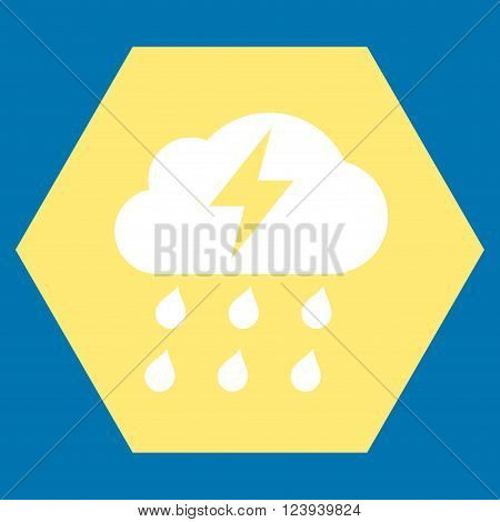 Thunderstorm vector icon. Image style is bicolor flat thunderstorm iconic symbol drawn on a hexagon with yellow and white colors.