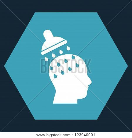 Brain Washing vector icon symbol. Image style is bicolor flat brain washing pictogram symbol drawn on a hexagon with blue and white colors.