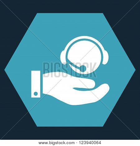 Call Center Service vector icon. Image style is bicolor flat call center service pictogram symbol drawn on a hexagon with blue and white colors.