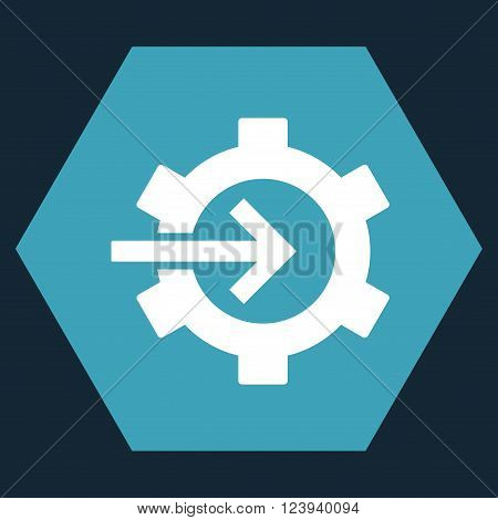 Cog Integration vector symbol. Image style is bicolor flat cog integration pictogram symbol drawn on a hexagon with blue and white colors.