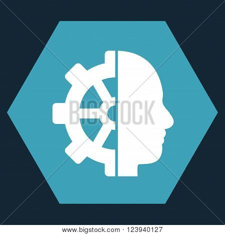 Cyborg Gear vector icon. Image style is bicolor flat cyborg gear pictogram symbol drawn on a hexagon with blue and white colors.