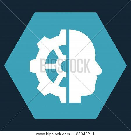 Cyborg Gear vector symbol. Image style is bicolor flat cyborg gear icon symbol drawn on a hexagon with blue and white colors.