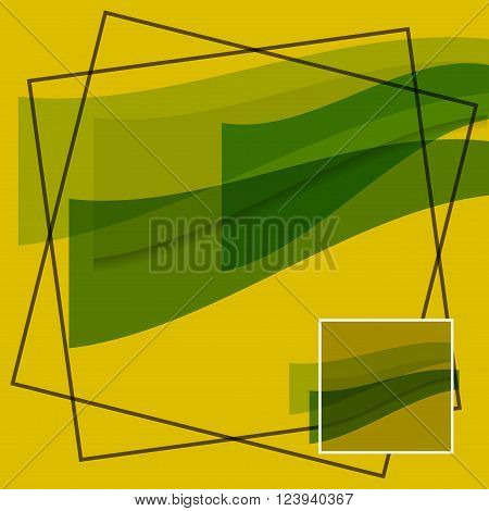 abstract - translucent green waves on a yellow background with black and white borders