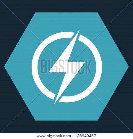 Electricity vector pictogram. Image style is bicolor flat electricity icon symbol drawn on a hexagon with blue and white colors.