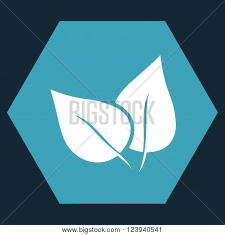 Flora Plant vector icon symbol. Image style is bicolor flat flora plant icon symbol drawn on a hexagon with blue and white colors.