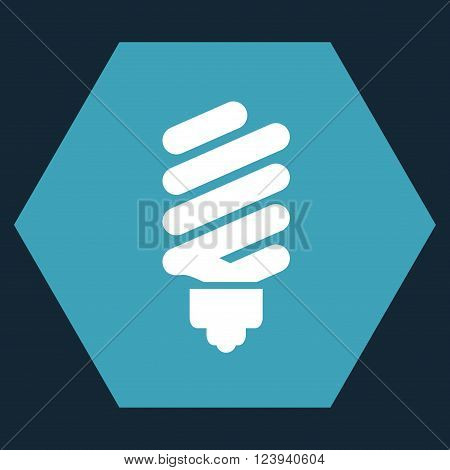 Fluorescent Bulb vector icon. Image style is bicolor flat fluorescent bulb iconic symbol drawn on a hexagon with blue and white colors.