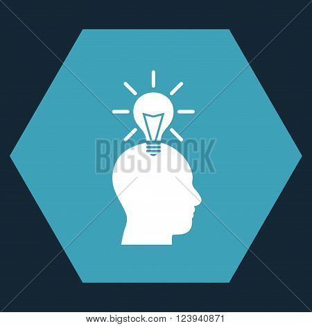 Genius Bulb vector icon. Image style is bicolor flat genius bulb iconic symbol drawn on a hexagon with blue and white colors.
