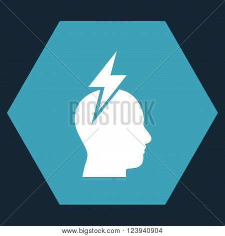 Headache vector pictogram. Image style is bicolor flat headache icon symbol drawn on a hexagon with blue and white colors.