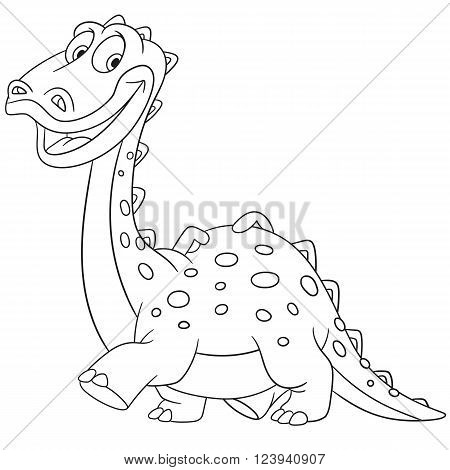 cute and happy young cartoon dinosaur diplodocus isolated on a white background