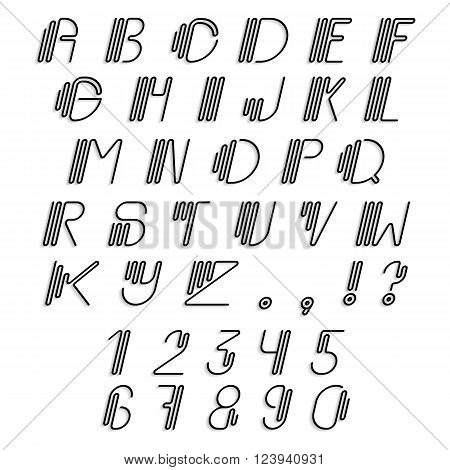 Original curved latin alphabet set. Linear italic uppercase, numerals and punctuations, modern font, english thin alphabet with shadow effect. Contemporary vision of vintage Art Deco typography style