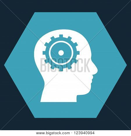Intellect vector symbol. Image style is bicolor flat intellect pictogram symbol drawn on a hexagon with blue and white colors.