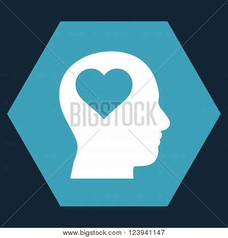 Lover Head vector icon symbol. Image style is bicolor flat lover head pictogram symbol drawn on a hexagon with blue and white colors.