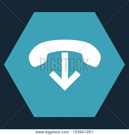 Phone Hang Up vector pictogram. Image style is bicolor flat phone hang up icon symbol drawn on a hexagon with blue and white colors.