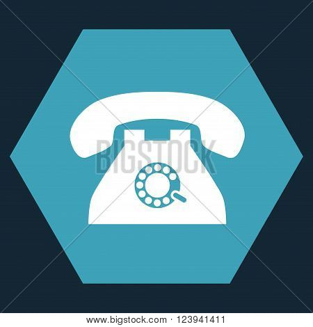 Pulse Phone vector symbol. Image style is bicolor flat pulse phone pictogram symbol drawn on a hexagon with blue and white colors.