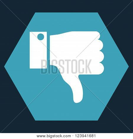 Thumb Down vector pictogram. Image style is bicolor flat thumb down icon symbol drawn on a hexagon with blue and white colors.