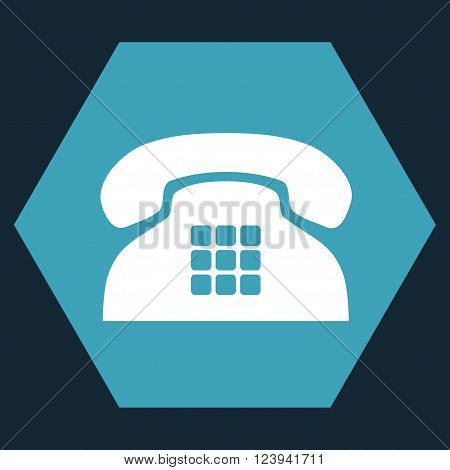 Tone Phone vector icon symbol. Image style is bicolor flat tone phone iconic symbol drawn on a hexagon with blue and white colors.